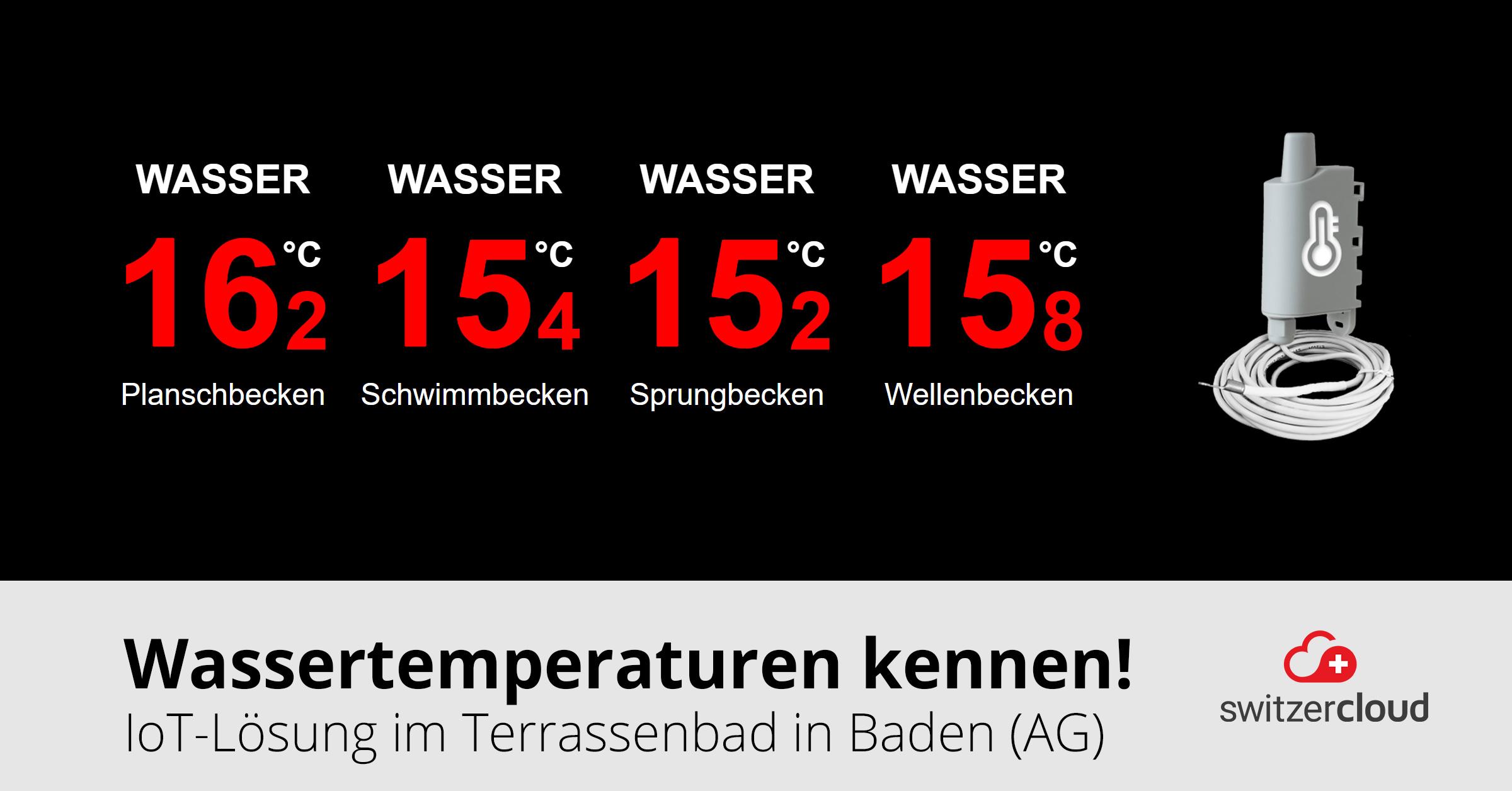 Temperaturanzeige im Freibad Baden