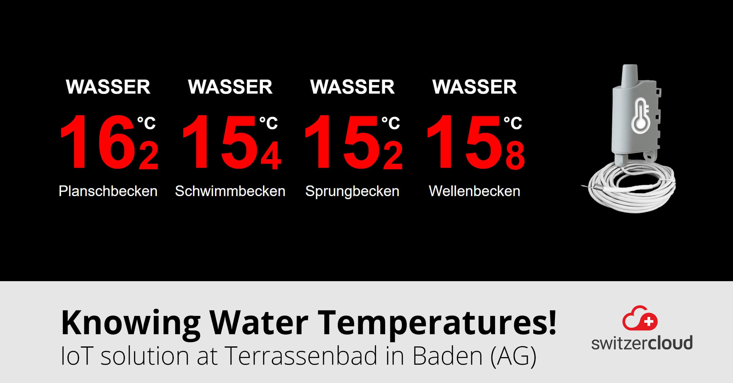Temperature display in the outdoor pool of Baden